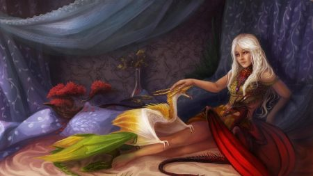 girl, bed, dragons