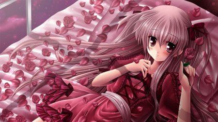girl, bed, petals