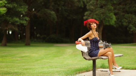 girl, bench, dress
