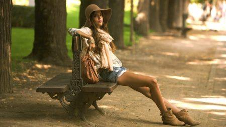 girl, bench, model
