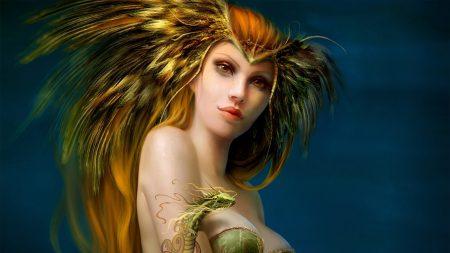 girl, bird, dragon
