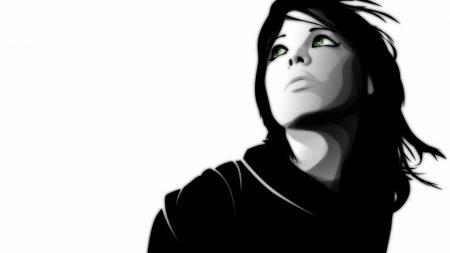 girl, black white, face