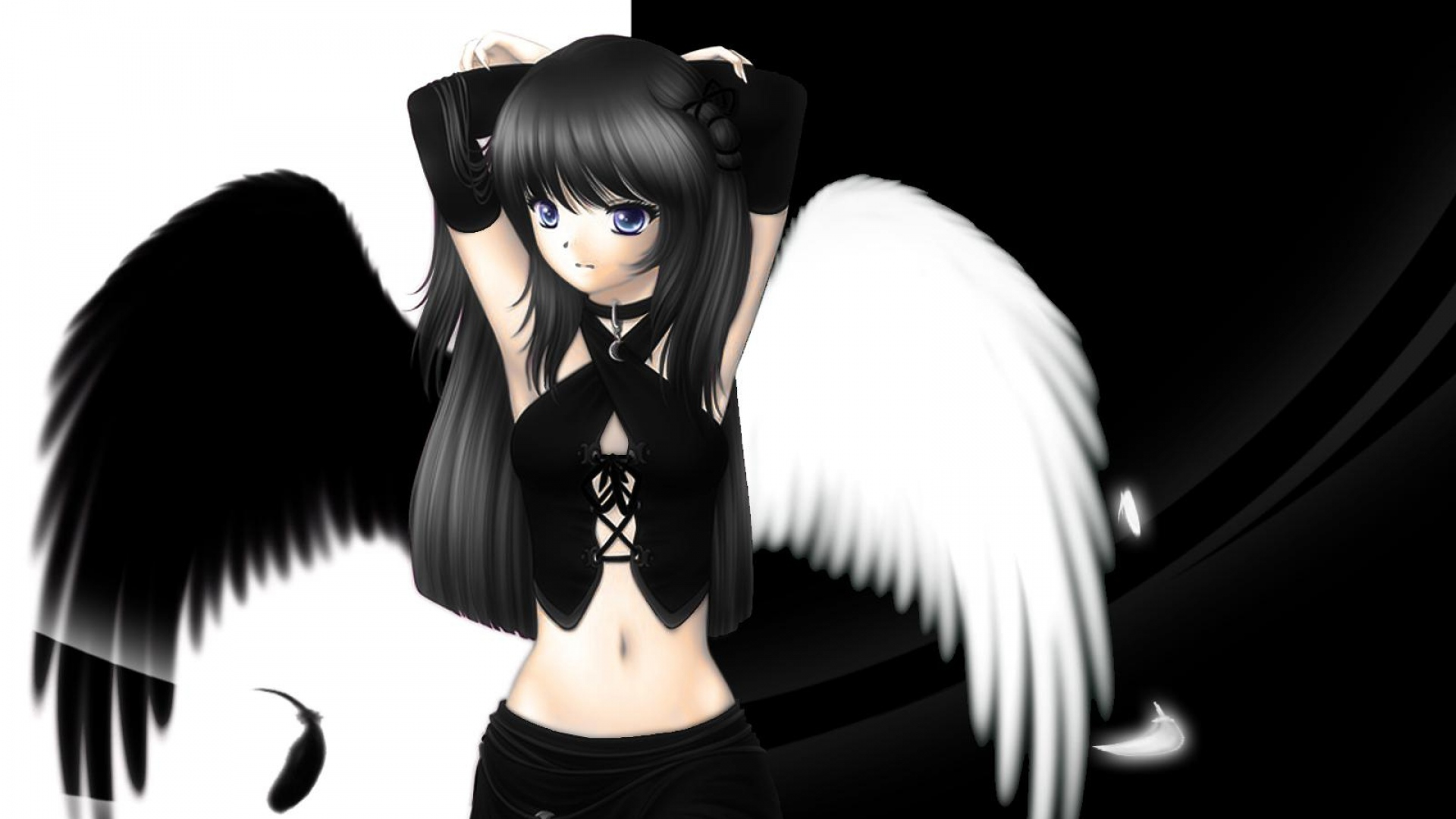 Download Wallpaper 1920x1080 Girl Black White Wings Angel Full Hd 1080p Hd Background