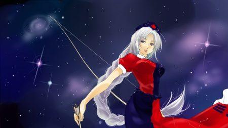 girl, blond, arrow