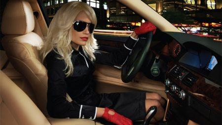 girl, blonde, car interior