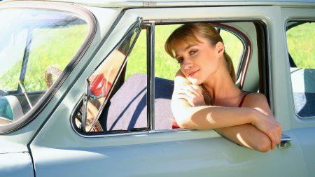 girl, blonde, car
