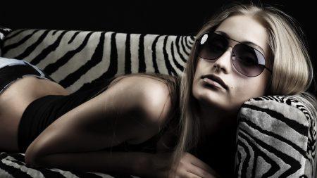 girl, blonde, glasses