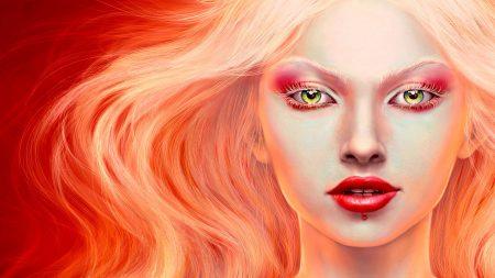 girl, blonde, lips