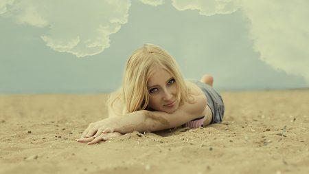 girl, blonde, look