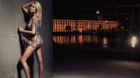 girl, blonde, night