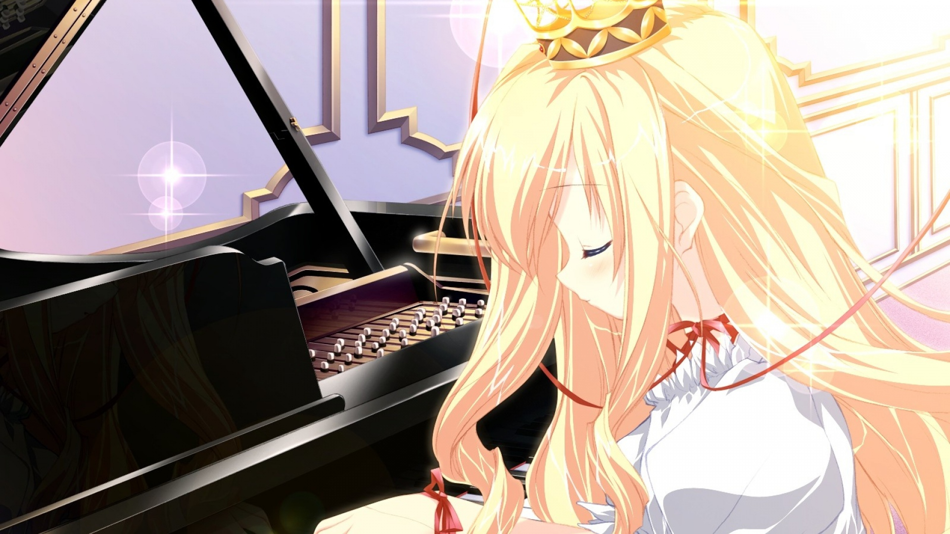 girl, blonde, piano