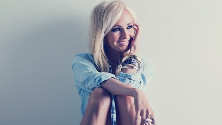 girl, blonde, smile