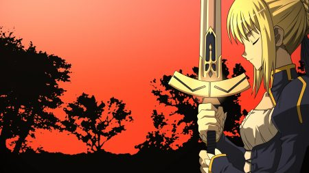 girl, blonde, sword