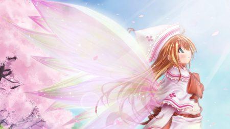 girl, blonde, wings