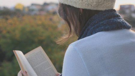 girl, book, scarf