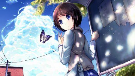girl, brunette, butterfly