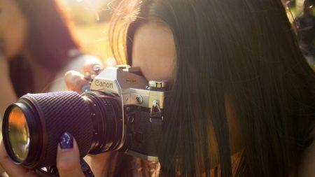 girl, brunette, camera