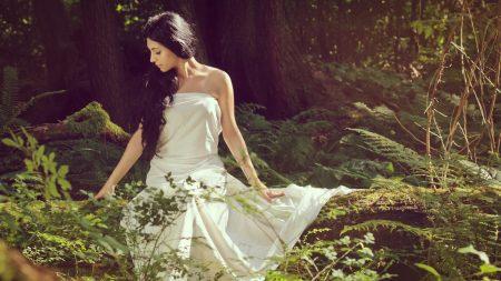 girl, brunette, forest