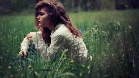 girl, brunette, grass