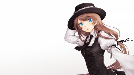girl, brunette, hat