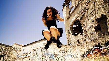 girl, brunette, jumping
