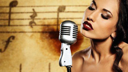 girl, brunette, microphone