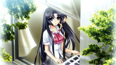 girl, brunette, piano