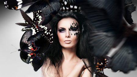 girl, brunette, wings