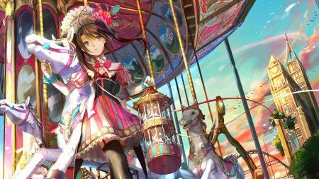 girl, carrousel, horse