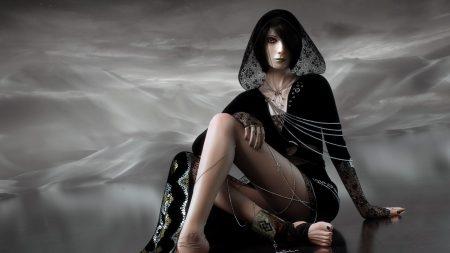 girl, chains, black