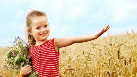 girl, child, field