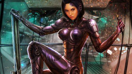 girl, cyborg, look