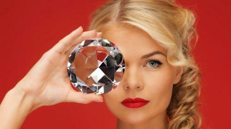 girl, diamond, red background