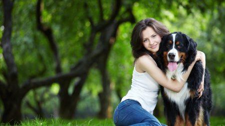 girl, dog, happiness