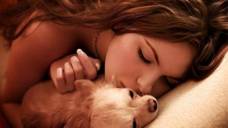 girl, dog, kiss