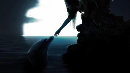 girl, dolphin, friendship