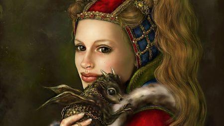 girl, dragon, animal