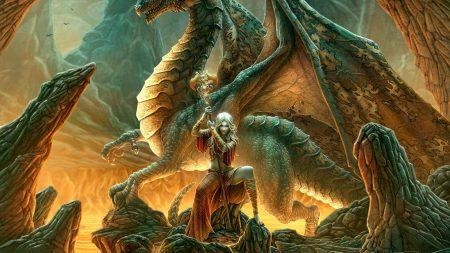 girl, dragon, staff