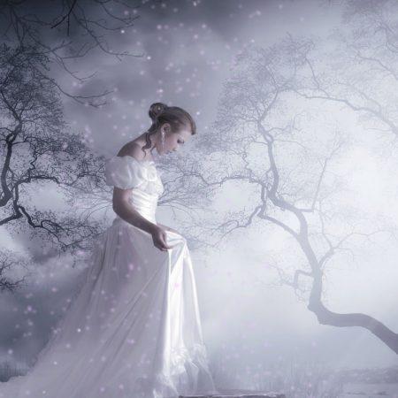girl, dress, forest