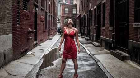 girl, dress, street