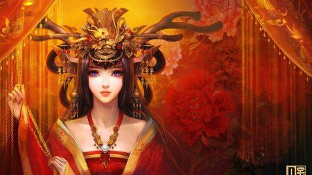 girl, eyes, kimono