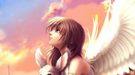 girl, eyes, wings