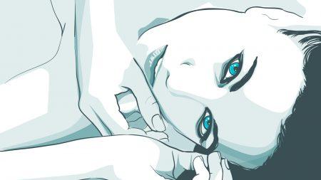 girl, face, blue eyes