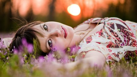 girl, face, grass