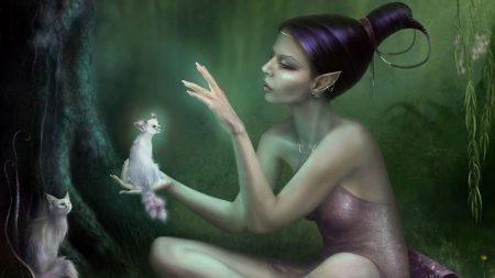 girl, fairy, wood