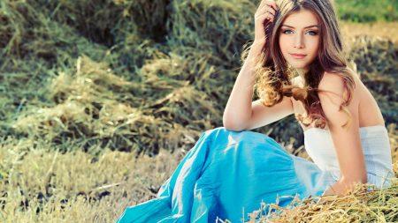 girl, field, grass