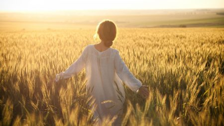 girl, field, wind