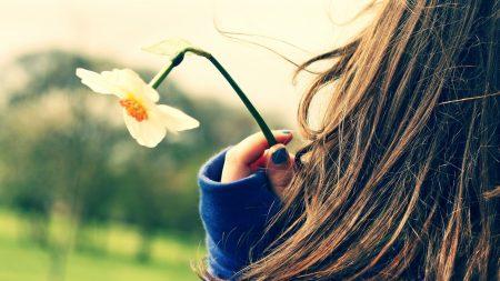 girl, flower, hand