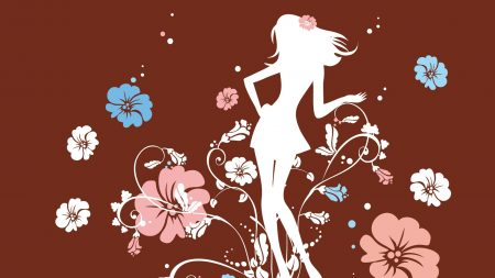 girl, flowers, silhouette