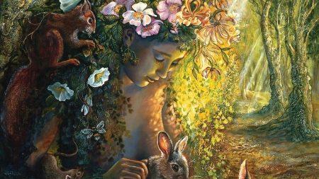 girl, forest, animals